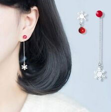 Silver Asymmetry Inlay Snowflake Red Ball Stud Earrings Birthday Gift Box K57