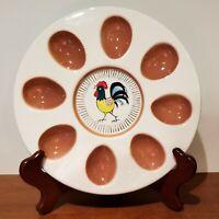 "Vintage LEGO Deviled egg plate, Rooster, white & brown, 8"", 8 eggs, 1960s Japan"