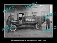OLD LARGE HISTORIC PHOTO OF RAYMOND WASHINGTON, THE ISAACSON Co TRUCK c1920