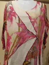 Parsley & Sage Layered Floral and Butterfly with sheer arms Women's Top XL