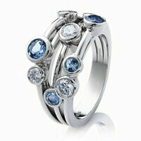 Elegant 925 Silver Rings Women Jewelry Blue Sapphire Wedding Ring Size 6-10