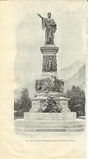 Stampa antica originale TRENTO Piazza e monumento a DANTE 1889 Old antique print
