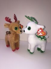 """TY PEPPERMINT & TINSEL SET OF 2 REINDEER 6"""" BEANIE BABIES-NEW, MINT TAG*IN HAND*"""
