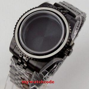 40mm sapphire glass black PVD Watch Case fit NH35 NH36 Miyota 8215 jubilee strap