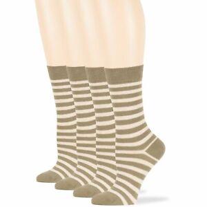 Women's Cotton 4 Pack Striped Business Dress Crew Socks Large 10-12 Khaki