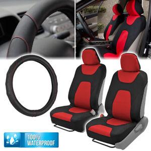 Red/Black Waterproof Sideless Car Seat Covers & Leatherette Steering Wheel Cover