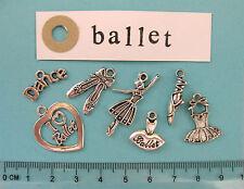 7 TIBETAN SILVER Ballet Charms Ballerine CUORE TUTU DANZA BALLERINA parole