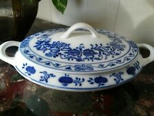 Vintage Germany Blue Onion Oval Casserole Covered Serving Dish Bowl Handled