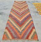 Hand Woven Veg Dyed Vintage Afghan Chobi Wool Kilim Kilm Area Runner 7 x 2 Ft