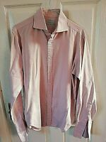 T M LEWIN SHIRTMAKERS MENS PINK LUXURY SHIRT SIZE MEDIUM 15 1/2  SEMI FITTED