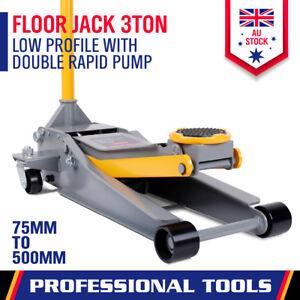 New 3 Ton Low Profile Trolley Jack Hydraulic Floor Car Lifter Dual Pump 75-500MM