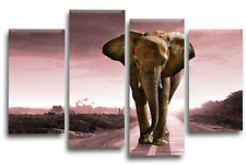 """ELEPHANT SUNSET Canvas Wall Art Picture Brown Grey Pink Split Multi 4 Panel 44"""""""