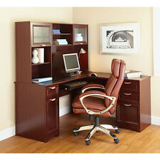 NEW L-Shaped Office DESK + HUTCH (Computer, Executive), Cherry, FREE Delivery