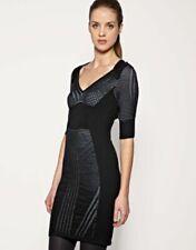 Karen Millen Fine Knit Wool Mix Black Jumper Dress KM 1 UK 6 8 XS