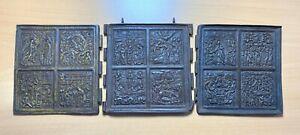 "Ancient folding icon ""The Twelve Feasts"", cast, 19th century, bronze"