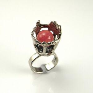 RHODOCHROSITE Sterling Silver Modernist Artisan Ring 925 Mid Century Boho Flower