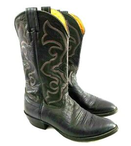 Nocona Made In USA Men's 8.5 E (Wide) Black Exotic Leather Western Cowboy Boots