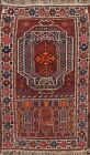 Vintage Geometric Afghan Oriental Area Rug Hand-knotted Wool Kitchen Carpet 3x4
