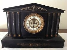 ANSONIA CLOCK CO. MANTLE CLOCK, CAST IRON, VISIBLE ESCAPEMENT, DATED 6/18/1882!