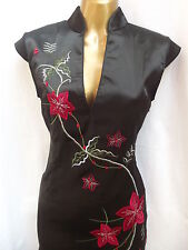 Oriental Black Red Stylist Chinese SILK dress 18