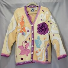 8bd3e57f27e Storybook Knits Size 2X Flowers & Perfume Yellow Women's Cardigan Sweater