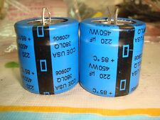 2 X CDE CORNELL DUBILIER 220uF 450VDC ELECTROLYTIC CAPACITOR