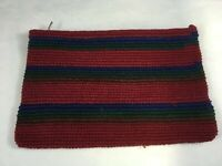 Handmade Guatemalan Red Striped Woven Coin Purse Pouch Wallet NOS
