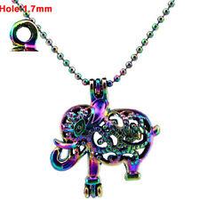 C21 Rainbow Color Elephant Locket Necklace Beads Cage 45cm Chain
