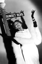 Gloria Swanson classic posing under Sunset Boulevard road sign 11x17 Mini Poster