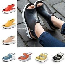 Women PU Leather Flat Chunky Wedge Platform Fish Mouth Shoes Sandals Summer LC