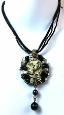 ELEGANT BLACK PENDANT TRIBAL STYLE MULTI STONE BRAND NEW UNIQUE STUNNING (SR)