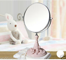 Round Shape 8 Inches Rasin Bathroom Mirror Doulbe Sided Toilet Glass Pink