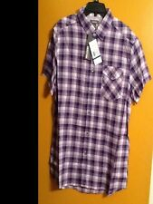 Kenneth Cole Short Sleeve Checked Dark Orchid Combo Shirt New with Tags !