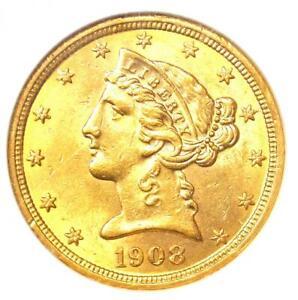 1908 Liberty Gold Half Eagle $5 Coin - Certified NGC MS61 (BU UNC) - Rare Coin!