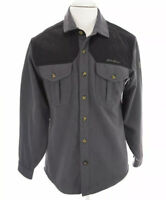 Eddie Bauer Mens Sz S Wool Button Up Front Shirt Gray Pockets Logo