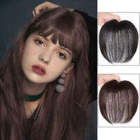 Human Hair Hairpiece Clip Natural Toupee Topper Piece Straight  Wispy Bangs