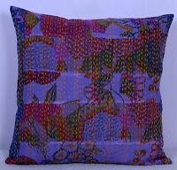 """16"""" PATCHWORK PILLOW CUSHION COVER INDIAN Bohemian Kantha Embroidery Throw Sham"""