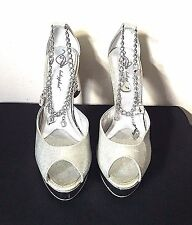 Baby Phat Size 8.5 Silver Peep Toe Charm Link Chain Ankle Bracelet Heels
