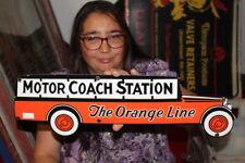 Motor Coach Station The Orange Line Bus Depot Gas Oil Porcelain Metal Sign
