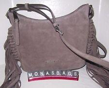 Michael Kors Billy Medium Fringe Messenger Bag Cinder Suede Leather NWT $268