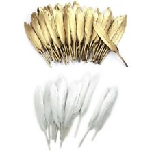 Gold & Silver Goose Feathers Arts Crafts Hat Costume Wedding Colour 4''-8'' UK