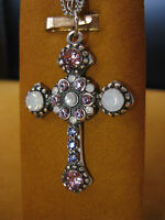 MARIANA CROSS NECKLACE PENDANT SWAROVSKI CRYSTALS FLOWER Gift Mother's Day