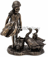 THE GOOSE GIRL by Genesis Fine Arts Bronze Sculpture of Young Girl With Geese