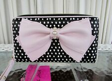 Betsey Johnson Pink Bow Wallet Zip Around Dots NWT
