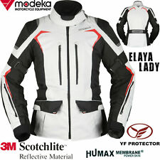 MODEKA Damen Motorradjacke ELAYA LADY hellgrau wasserdicht Protektoren Gr. 40
