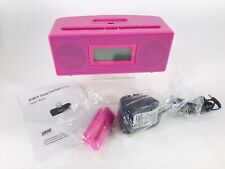 Bright Pink I-Concepts iSnooze LCD Alarm Clock, Radio for iPod Recharger NIB