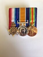 WW 1 Miniature Medal Trio Ready To Wear Court Mounted,1914/15 Star, BWM, Victory