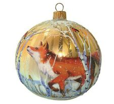 "3.5"" Fox in The Woods Glass Ball Christmas Ornament Hand blown in Russia 2203.1"