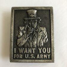 Vintage Uncle Sam Belt Buckle I Want You For US Army Bergamot Brass Co 1976