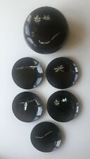Vintage Mother of Pearl Inlay Signed Japanese Lacquerware Bowl w/Lid & 5 Plates